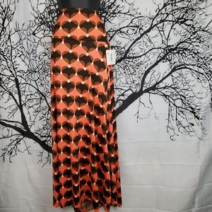 LuLaRoe Maxi Skirt Neon Prink Black Heart Print XL